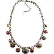 Burnished Silver Chain Necklace With Textured Burnished Tri-tone Bead Drop Offs
