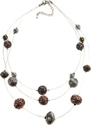 Three Row Silver Wire Illusion Necklace With Burnished Tri-tone Textured Beads