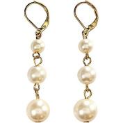 Graduated Triple Drop Cream Pearl Earrings