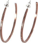 Thin Copper Hoop Earrings With Etched Design