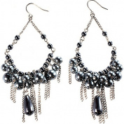 Grey Pearl Chandelier Earrings With Silver Chain Fringe
