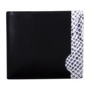 Italian Calf Leather w/ Snake Print Double Fold Wallet