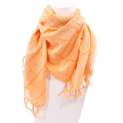Shawl with Silver Stripes, Peach