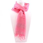 Simple Scarf with Horizontal Silver Band, Pink