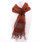 Simple Scarf with Horizontal Silver Band, Coco