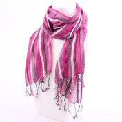 Loose Weave Striped Scarf Shades of Pink