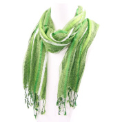 Loose Weave Striped Scarf Shades of Green