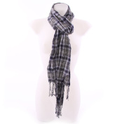Stretchy Crinkle Square Pattern Scarf - Dark Blue