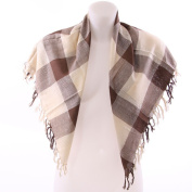Square Pattern Shawl - Brown & Cream