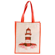 Red Lighthouse with Buildings Cotton Bag