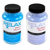 Muscle & Stress Therapy Rx Aromatherapy Bath Salts -19 Oz Bottles- Soak Aches, Pains & Stress Relief for Spa, Bathtub, Hot Tub