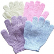 1 Textured Scrubber Bathing Gloves, Colours may vary