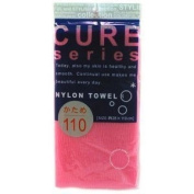 Cure Series Japanese Exfoliating Bath Towel from OHE - Hard Weave - Pink, 110cm