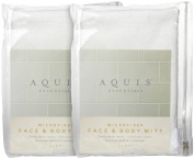 Aquis Microfiber Face and Body Mitt -- White -- 5 x 7