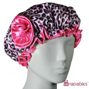 Kella Milla Stylish Satin Shower Cap - Pink Leopard