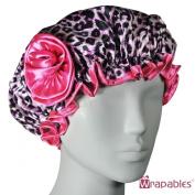 Kella Milla Stylish Satin Shower Cap - Pink Leopard