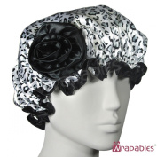 Kella Milla Stylish Satin Shower Cap - Black & White Leopard