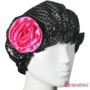 Kella Milla Stylish Satin Shower Cap - Black Glitter & Rose
