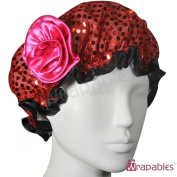 Kella Milla Stylish Satin Shower Cap - Red Glitter & Rose
