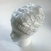 Fashy WHITE SATIN Shower Cap with Wide Headband - Made in Germany