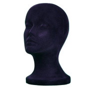 A1Pacific 27.9cm BLACK Velvet STYROFOAM FOAM MANNEQUIN MANIKIN head wig display hat glasses