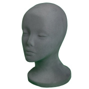 A1Pacific 27.9cm GREY Velvet STYROFOAM FOAM MANNEQUIN MANIKIN head wig display hat glasses