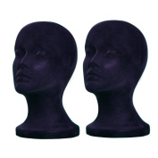 2PCs A1Pacific 27.9cm BLACK Velvet STYROFOAM FOAM MANNEQUIN MANIKIN head wig display hat glasses