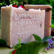 Egyptian Geranium with French Rose Clay- Cocoa Butter and Crushed Flowers Soap 210ml Bar