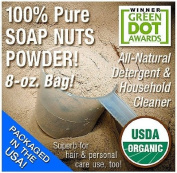 NaturOli Soap Nuts Powder - USDA Certified Organic - 240ml BULK - 100% Pure, Finely Ground, Sapindus Mukorossi Soap Berry Powder - No Chemicals or Fillers!