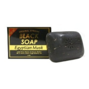 Original African Black Soap w/ Shea Butter & Cocoa Butter, Egyptian Musk 150ml - 6 Pack