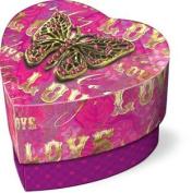 Punch Studio Heart-Shaped Soap in Keepsake Butterfly Brooch-Embellished Heart Box