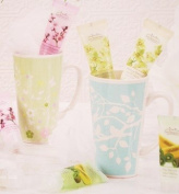 Cherry Blossom Bath Mug Gift Set - Green Flower Mug