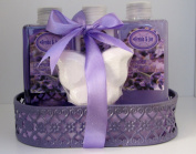 Lavender Bath and Body Gift Basket- Body Lotion,Bubble Bath,Shower Gel,Bath Fizzer