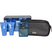 Versace Man Fraiche Eau De Toilette 100ml/ Shower Gel 50ml/ Aftershave Balm 50ml/ Pouch Gift Set for Him
