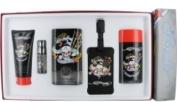 Ed Hardy Born Wild Set-Edt Spray 100ml & Deodorant Stick Alcohol Free 80ml & Hair And Body Wash 90ml & Edt Spray 5ml Mini & Luggage Tag By Chri