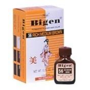 Bigen Permanent Powder Hair Colour, #56 Rich Medium Brown - Colour Powder 5ml and Measuring Cup 1 pc. per box.,