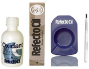 REFECTOCIL colour KIT- Light Brown Cream Hair Dye + Liquid Oxidant 3% 50ml + Mixing Brush + Mixing Dish