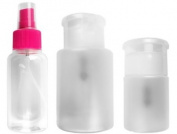 3PC makeup remover pump dispenser & spray bottle