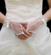 Women's Sunvary Lace/ Voile Fingerless Wrist Length Short Bridal Gloves