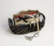 3-6. Jolie Bronze and Black Zebra Flock Tote Travel Cosmetic Make-Up Bag Very Lightweight Handbag Organiser Insert Dimensions