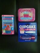 CUPCAKE Lovers Triple Sampler Gift Pack- Cupcake Gumballs, Cupcake Lip Balm & Cupcake Adhesive Bandaids