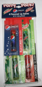 Pepsi Flavoured Lip Balms Party Pack 4 Pack - Mountain Dew , Pepsi Wild Cherry, Mountain Dew Code Red