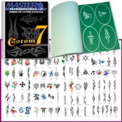 Master Airbrush® Brand Airbrush Tattoo Stencils Set Book #7 Reuseable Tattoo Template Set, Book Contains 100 Unique Stencil Designs, All Patterns Come on High Quality Vinyl Sheets with a Self Adhesive Backing.