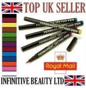 12 pcs Original Stargazer Semi Permanent High Quality Tattoo Pens Set & Corrector Pen Makeup Fancydress Body Art Designs Sleeves, 12 Colour Colour Shades