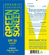 Green Screen Organic Sunscreen SPF 20 Original - 240ml/230g - Vegan