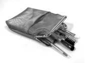 Rucci Cosmetic Purse with Cosmetic Brush, Silver