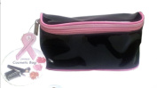 Patent Leather Look Black and Pink Zippered Cosmetic Bag