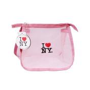 I Love NY Mesh Cosmetic Makeup Hand Bag Transparent Case Clutch / Pink / Medium