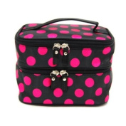Unique Dots Pattern Double Layer Cosmetic Bag Black