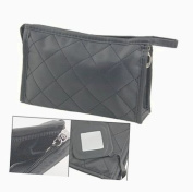 Black Grid Pattern Cosmetic Make Up Small Zippered Bag
